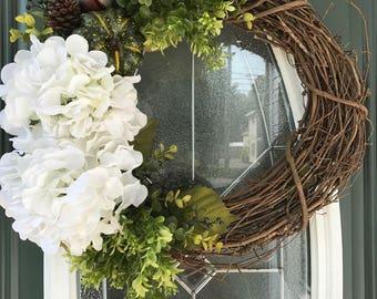Farmhouse Wreath, Fall Wreath, Rustic Wreath, White Wreath, Autumn Wreath, Front Door Wreath, Boxwood Wreath