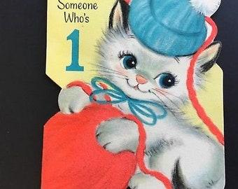 Vintage Birthday Greeting Card, For 1 year Old, Kitten & year, Hallmark