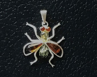 Multicolor Sterling silver Baltic Amber Fly pendant