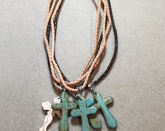Turquoise Howlite Cross & Leather Necklace