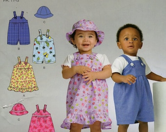Simplicity 2672 Sewing Pattern Free Us Ship Fabric Baby Babies Girl Boy Hat Romper Dress Uncut New Size XXS-L Preemie to 18 mo Toddler
