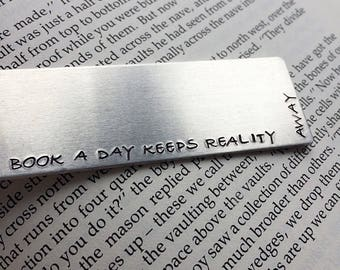A book a day stamped metal book mark - silver bookmark - book lover gift for reader
