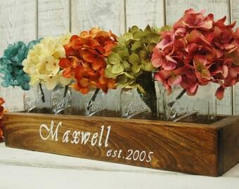 YOUR NAME Personalize Mason jar box , rustic decor, mason jar centerpiece, rustic centerpiece, wooden box, home decor, wedding centerpiece