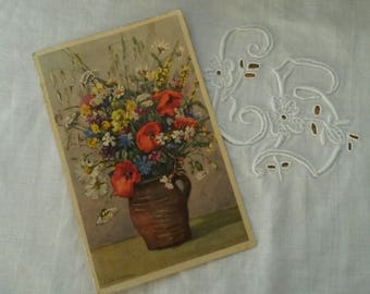 Old postcard / bunch of flowers / watercolor print