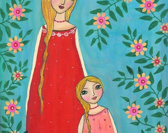 Mother and Daughter Art Print, Large Poster Print 40x50 cm (16x20 inch)