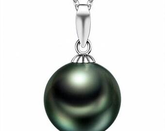 18K Platinum 8-8.5mm Tahitian black pearl pendant
