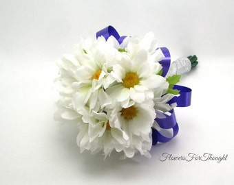 Daisy Wedding Bouquet, White Shasta Daisies, Bride or Bridesmaid Flowers