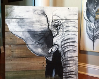 Elephant- acryclic and watercolor on barn wood. approximately 30X30