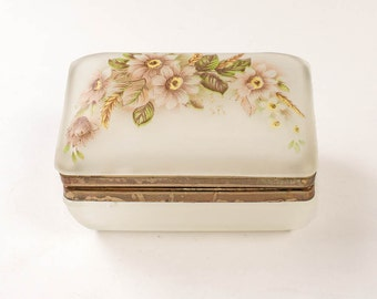 Vintage Keepsake Box Satin Glass Ring Holder Trinket Box