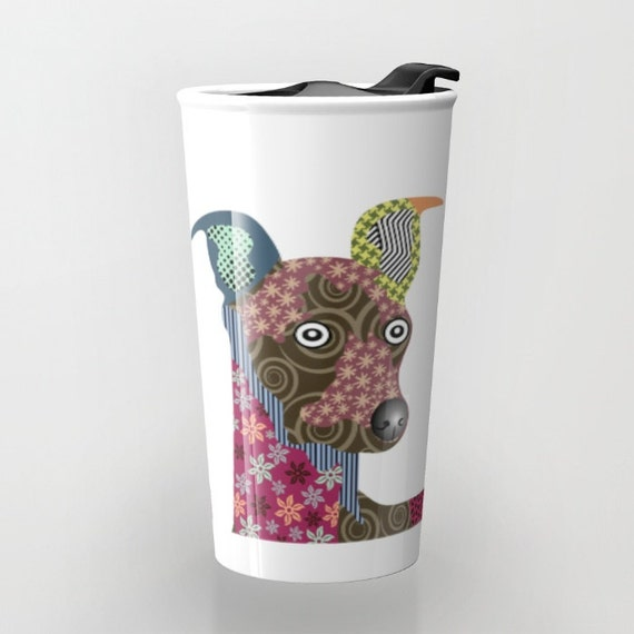 Italian Greyhound Coffee Mug, Cute Dog Travel Mug,  Greyhound Art Gift, Pet Mug, Dog Lover Mug, Dog Lover Gift, Travel Gift