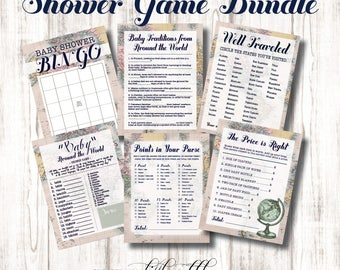 Welcome To The World Baby Shower Games, Baby Shower Game Printables,  Travel Themed Shower Games, Travel Shower, Map, Around The World, Games