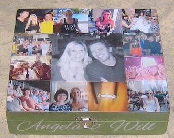 Unique Engagement Gift, Personalized Photo Collage Keepsake Box, Custom Wedding Photo Memory Box, Unique Gift, Boyfriend, Birthday Gift