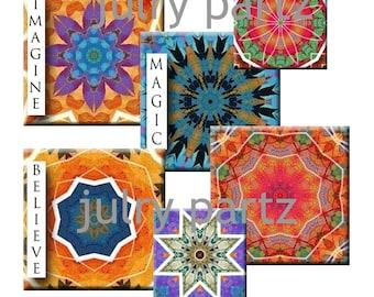 SALE Marrakesh Tile Mandalas in 1x1 Squares Printable Digital Images Cards, scabble tile,Gift Tags, Collage Digitable Download