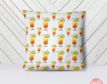 Tequila Sunrise Cocktail Illustration - Throw Pillow Case, Pillow Cover, Home Decor - TPC1105