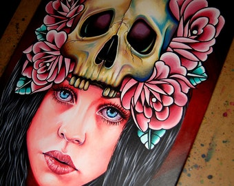 The Face Of Death Original Lowbrow Tattoo Inspired 16x20 inch Acrylic Painting on Stretched Canvas