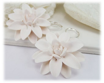 Large Dahlia Earrings - Silver Gold or Antique Brass Big Dahlia Dangle Earrings, White Flower Earrings, Dahlia Jewelry