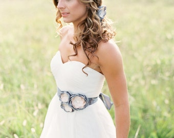 Gray Bridal Gown Flower Sash. Wedding Flower Dress Sash.