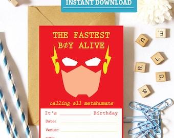 The Flash Birthday Invitation, Printable Flash Party Invitations,  Superhero Birthday Invite, The Flash Party Supplies, Flash download