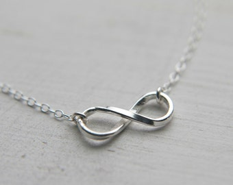 Sterling Silver Infinity Necklace, Infinity Charm Necklace or Bracelet, Unique Infinity Jewelry, Gift for Mom Wife Girlfriend