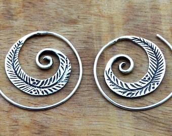 Tribal Earrings, Spiral Hoop Earrings, Leaf Earrings, Bohemian Earrings, Ethnic Earrings, Indian Earrings, Silver Hoops, Boho Jewellery
