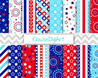 Red and Blue Fourth of July Patriotic Digital Papers with Stars, Stripes and Spirals for Personal and Small Commercial Use  - 0027