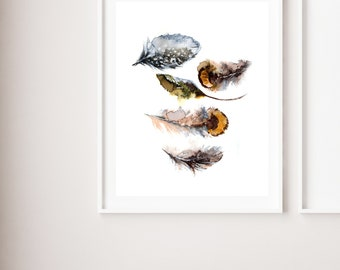 Feathers fine art print, feathers watercolor painting art, modern earth colors feathers wall art print, giclee print of 5 feathers