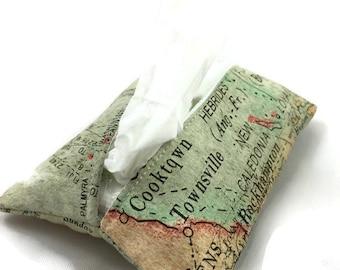 Tissue Holder, Travel Tissue Holder, Kleenex Pouch, Tissue Cover, Tissue Pouch in World Map