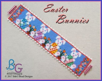 EASTER BUNNIES Peyote Cuff Bracelet Pattern