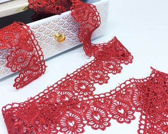 Lace ribbons lace red 45 mm wide