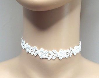 Cream Ivory Lace Choker Necklace Flower Rose Choker Gothic Choker Bridal Choker