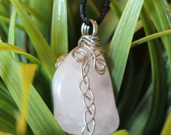 Reversible rose quartz wire wrapped necklace