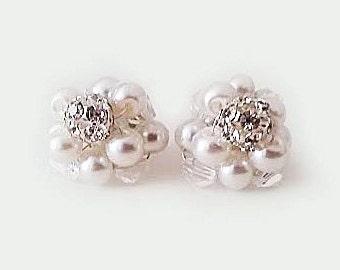 Pearl Cluster Stud Earrings Bridal Stud Earrings Swarovski Pearl Crystal Earrings Vintage Style Bridal Jewelry Pearl Earrings Silver Gold