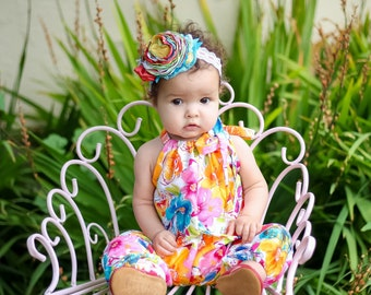 Summer Bloom Floral Jumpsuit, Boho Romper, Floral Baby Clothes, Toddler Romper, One Piece, Baby Rompers, Kids Clothing, Girls  Romper
