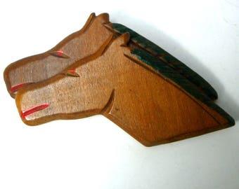 Wood Double Horse HEAD Pin, Running Neck and Neck at Saratoga Raceway NY, 1940s, Carved and Painted Equine Brooch,  Could be older,