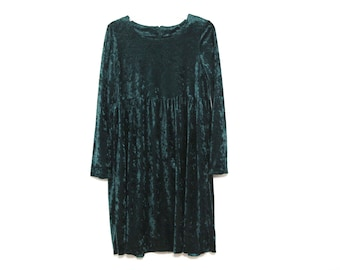 Vintage 90s dress crushed velvet green grunge goth