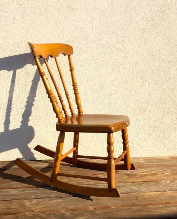 Antique Childu0027s Rocking Chair Wooden Armless Rocker