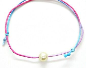 Bracelet or Anklet Adjustable Faux Pearl Minimalist Friendship String Hippie Rainbow Colors