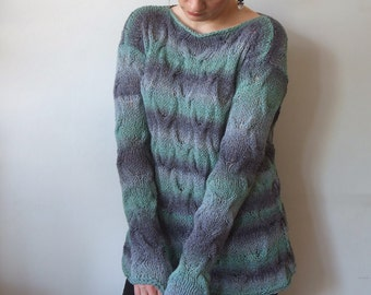 Cotton sweater, hand knit sweater, braided sweater, braided jumper, oversized sweater, ombre blue green sweater, boho sweater, loose fit