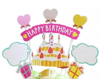 Cake Topper Paper Party Prop Birthday Colors
