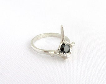 Ring 925 sterling silver vertebrae and black CZ T 54 unique Flora Guigal