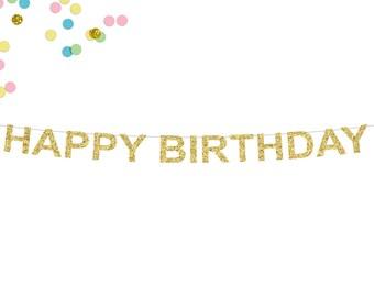 Happy Birthday Glitter Banner | Birthday Party Decor | Birthday Garland | Happy Birthday Sign | Birthday Girl or Boy | Gold Glitter Banner