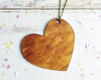 Statement Boho Necklace | Large Heart Necklace | Extra Long Necklace | Wooden Jewellery | Nickel Free