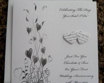 "Handmade Personalised 6"" Square Anniversary Card - ANY YEAR"