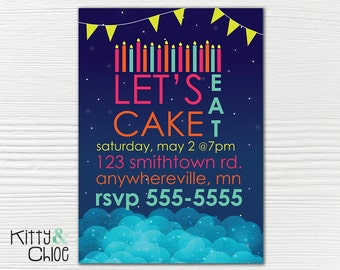 Let's Eat Cake Party Invitation, 5x7 or 6x9