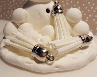 Silver  Capped White Tassels