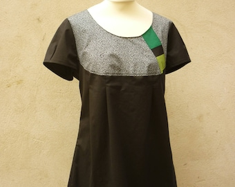 Black, little tunic pattern and green