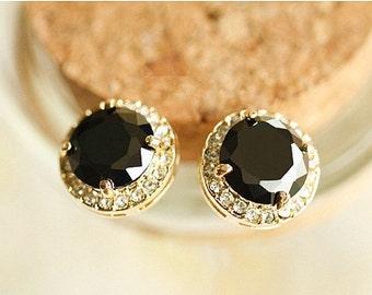 18K Gold 14MM Black Swarovski Crystal Stud Earrings