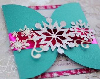 Snowflake Winter theme invitations