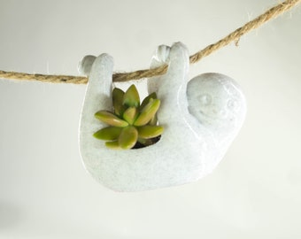 Cute Sloth Planter hanging planter air plants air plant holder  animal planter  Cute planter Garden Decor Gardening Gift Succulent Planter