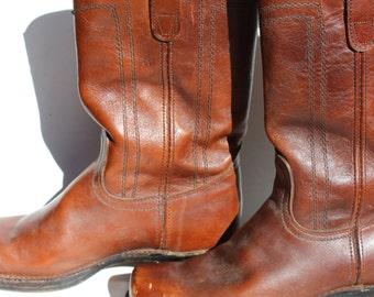 Vintage Cowboy Boots Square Toe Leather Campus Boot Style Vintage Campus Boots Brown